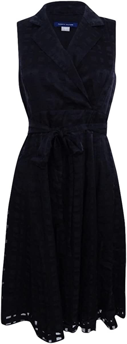 Tommy Hilfiger Women's Faux-Wrap 12 A-Line Inexpensive Dress Black low-pricing