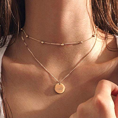 Engraved Layer Necklace, Engraved Name Necklace, Initial Disc Necklace, Personalised Necklace, Gold Disc Necklace, Engraved Disc Necklace