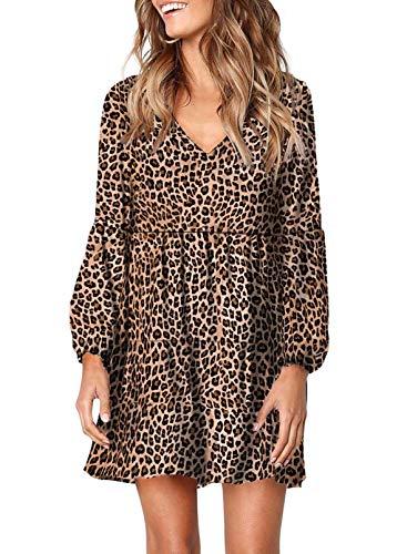 GOSOPIN Damen Tunika Kleid V-Ausschnitt Damenrock Casual Swing Kleid lose T-Shirt Kleider elegant Blusenkleid Sommer Strandkleider A- Leopard S