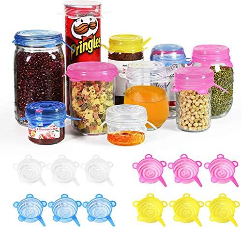 longzon Couvercle Silicone Alimentaire, [12 pcs] eco Couvercle Silicone Extensible, Film etirable reutilisable pour Tasse/Bouteille, pour Micro Ondes Four, Rangement frigo, LFGB, FDA,sans BPA-Mini