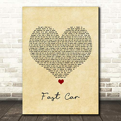 Tomve Greene #Tracy #Chapman #Fast Car Vintage Heart Song Lyric Quote Print Poster Wall Art Home Decor Gifts for Lovers Painting