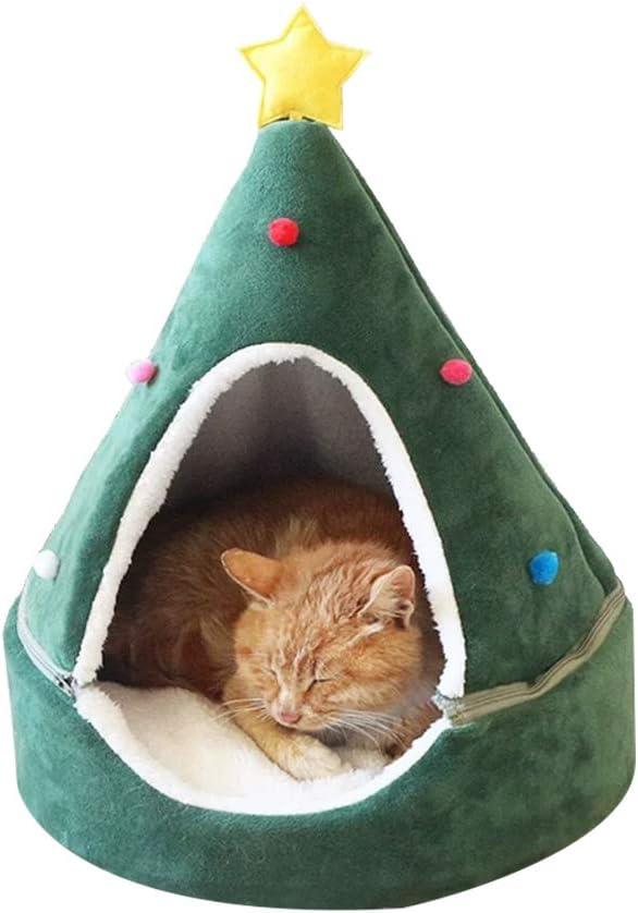 shenruifa casa de Gato arbol de Navidad, Casa para Gatos al Aire Libre para Invierno, Navidad Cómoda Tienda para Gatos Cama cálida para Gatos Triángulo Lavable Tienda para Mascotas Casa