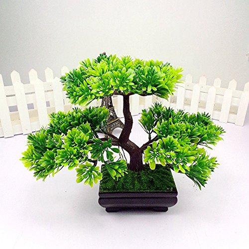 Ndier 1pc Welding Pine Emulate Bonsai Simulación Decorativa Artificial Flores Falso Verde Maceta Plantas, Morado, F Hogar y Cocina