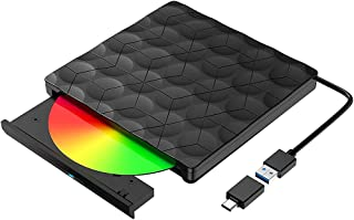 Andifany Externe CD DVD Drive USB 3.0 & Type-C Externe CD DVD - / + RW Brander Geluidsarme externe schijf voor laptop, des...