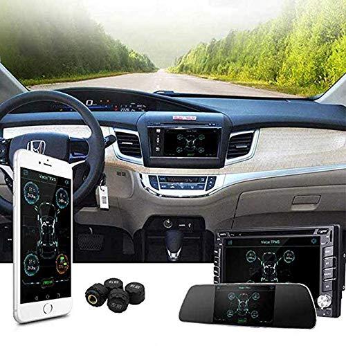Sistemas TPMS Sistema de Monitoreo de Presión de Neumáticos Bluetooth 4.0 Para Android IOS Pantalla de La Aplicación del Teléfono Móvil 4 Sensor Interno/Externo,Negro