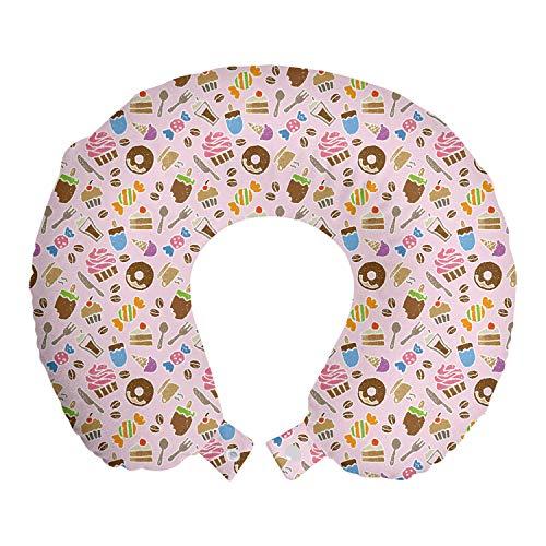 ABAKUHAUS Toetje Reiskussen, Snoepjes en Kitchen Tools, Reisaccessoire met Geheugenschuim voor Vliegtuig en Auto, 30 cm x 30 cm, Pale Pink en Multicolor