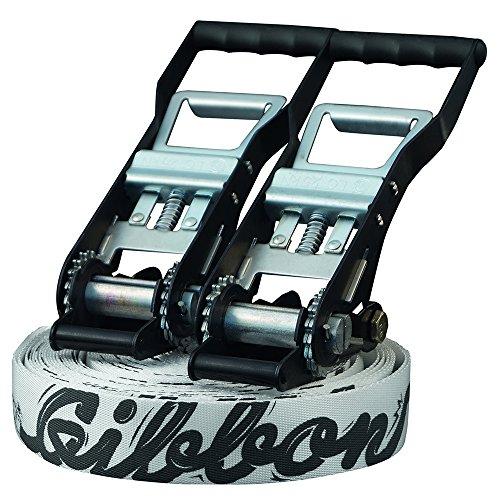 Gibbon Slacklines Andy Lewis Trickline Set, Sketchy Andy, Schwarz/ Weiß, 25 Meter (22m Band + je 1x 2m und 3m Rundschlingenfixierung plus 2 Schäkel), Jumpline, Trickline,2