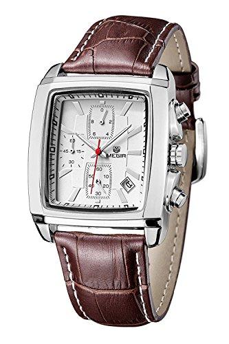 Megir Reloj de cuarzo para hombre, estilo casual, correa de piel, cronógrafo, pantalla analógica, reloj de cuarzo