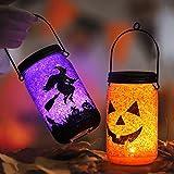 OUSFOT Lanterna per Halloween o Horror, Decorazione per Interni ed Esterni, 2 Pezzi (Aranc...