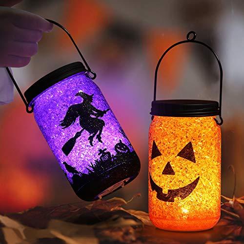 OUSFOT Laterne für Halloween Kinder Innen Außen Halloween Deko 2 Stück (Orange und Lila)