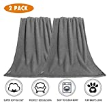 Premium Fluffy Fleece Dog Blanket, Soft and Warm Pet Throw for Dogs & Cats (2-Pack Large 40x47'', Grey)