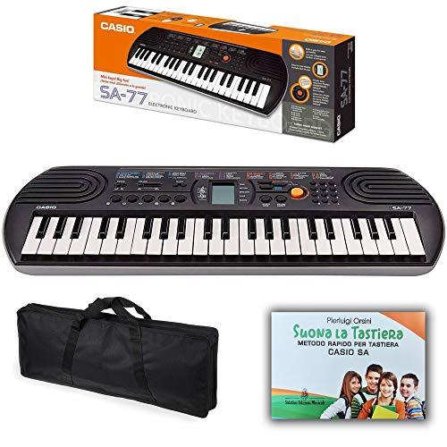 Kit Pianola Tastiera Casio SA 77 (Fondo grigio) con Borsa e Metodo'Suona la Tastiera'