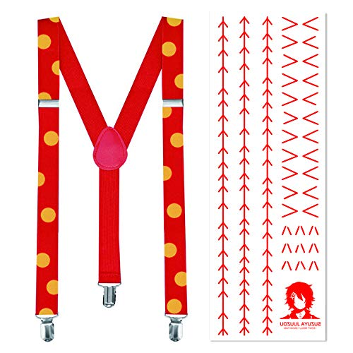 papapanda Braces Suspenders and Tattoo Set for Juzo Suzuya Tokyo Ghoul Juuzou Costume Halloween Carnival Points red Yellow