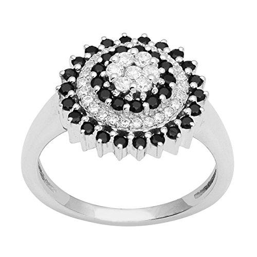Anillo CZ con círculo concéntrico en plata de ley 925 y gemas negras con espinela (N 1/2)