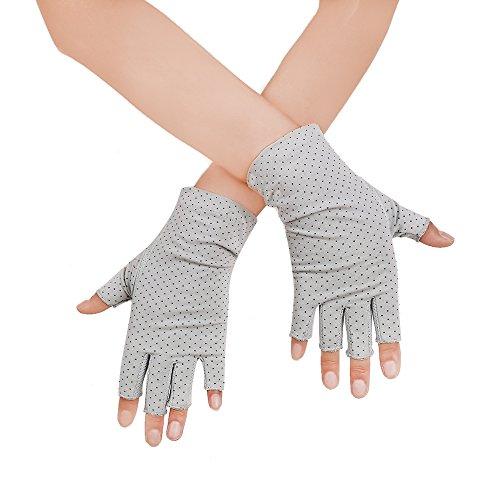 JISEN Women Sunscreen Fingerless Gloves UV Protection Driving Fishing Cotton Mittens Dots Gray