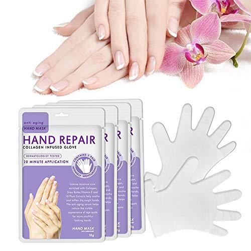 Wudi 5 Packungen Hand Feuchtigkeitsspendende Handschuhe Feuchtigkeitsspendende Handmaske Collagen Spa Behandlung Mit Avocado-Extrakt