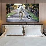 WJY Affiches et Impressions Modernes Art Mural Toile Peinture décoration Murale Le Chien mène Le Cheval Photos pour Salon 60cm x90cm Pas de Cadre