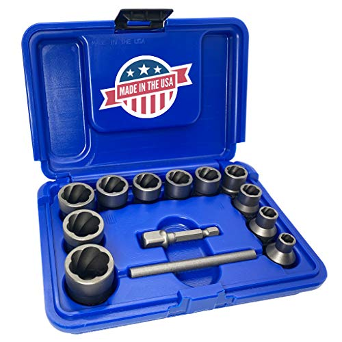 """ROCKETSOCKET 13 Piece with ⅜"""" Drive Impact Grade American Drawn Steel Extraction Socket Set Remove Damaged Frozen Rusted Rounded-Off Bolts Nuts and Screws - Made in USA"""