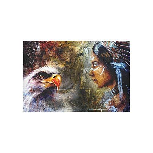 JEOLVP Tapiz Retro Americano Águila Calva Mujeres Indias Marrones Florero Colgante Psicodélico Tapiz Dormitorio Indio Decoración para el Salón Dormitorio60X40Pulgadas