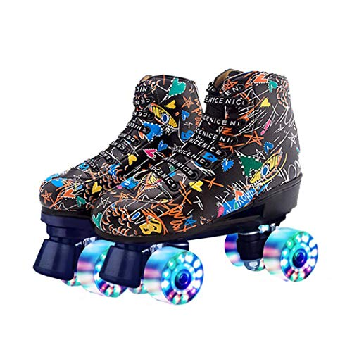 XUDREZ Youth Microfiber Leather Roller Skate, Four-Wheels Roller Skates Classic Adjustable Roller Skates for Girls and Ladies Indoor Outdoor (Black...