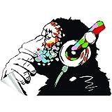 Decords Banksy Pensamiento Mono Pegatina Arte Vinilo Calle DJ Baksy Pared calcomanía Auriculares chimpancé música Thinker Graffiti Mural Boy Pegatinas Inteligentes