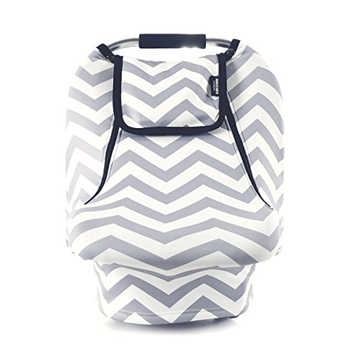 Stretchy Baby Car Seat Covers for Boys Girls, Infant Car Canopy for Spring Autumn Winter,Snug Warm Breathable Windproof, Zipped Peep Window,Universal Fit, Grey White Chevron -Patented Design Kansas
