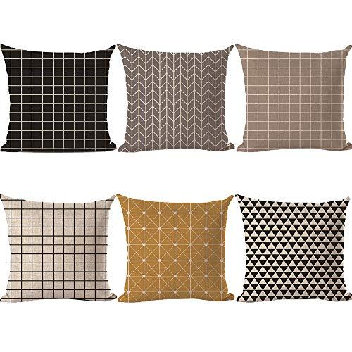HBOS 6er Set Leinen zierkissenbezüge 45x45 cm, Liniengeometrie Muster Zierkissenhülle Dekorative Kissenbezug Für Sofa Büro (Stil 6)
