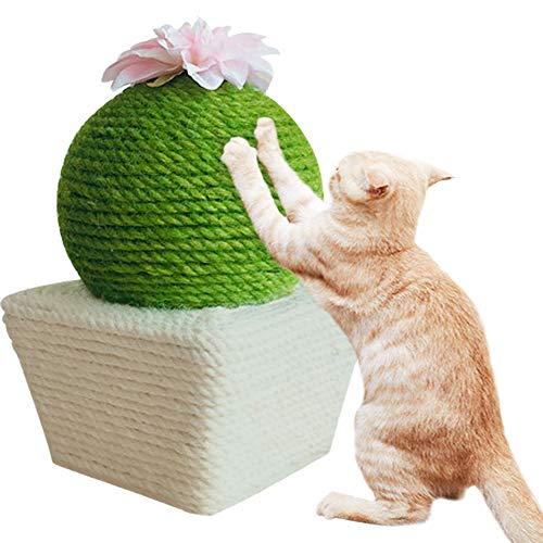 Umora猫爪とぎ サボテン形 可愛い 猫のおもちゃ 爪磨き サイザル麻 置物 ストレス解消 運動不足解消 安全 家具保護(スクエア)