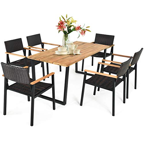 Tangkula 7PCS Outdoor Dining Set, Patio Dining Furniture Set w/Large Rectangle Acacia Wood Table Top, Rattan Chairs with Steel Frame, Umbrella Hole, Conversation Seating Set for Backyard Garden