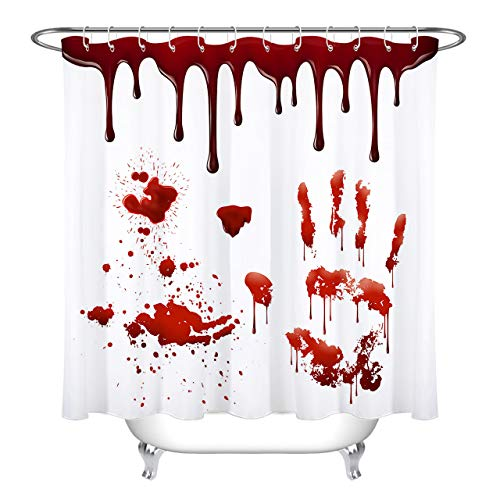 LB Grusel Duschvorhang Blut Fingerabdruck,Rot,Weiß,Halloween Polyester Extra Lang Bad Vorhänge Wasserdicht Anti Schimmel Badezimmer Deko Heimzubehör mit Vorhanghaken,150X180cm