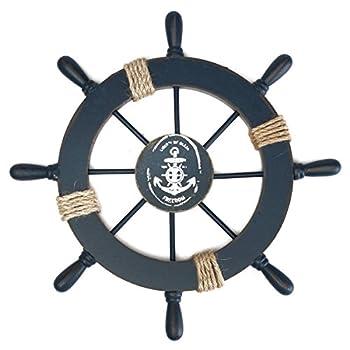 WINOMO Wood Pirate Ship Helm Wheel Home Nautical Wall Marine Decor Dark Blue