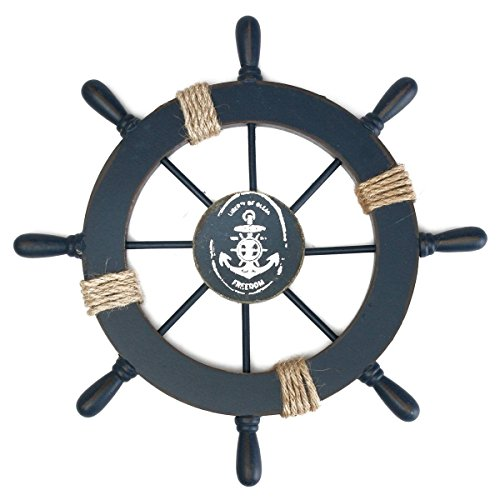 Rosenice Wooden Ship Wheel Nautical Boat Ship Wheel Wall Decor Dark Blue