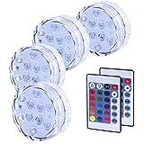 4PCS Luces Sumergibles, Piscina Luz LED Impermeable, Color Cambio, Control...