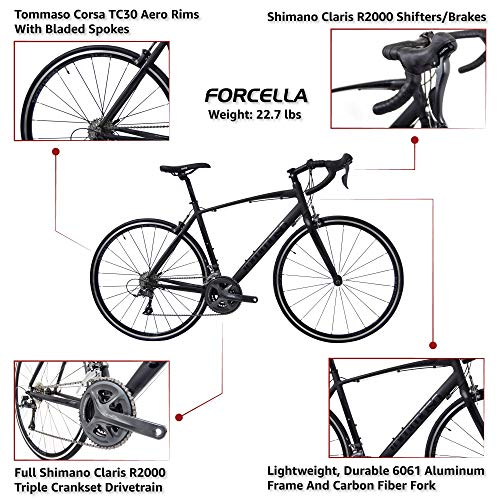Tommaso Forcella Endurance Aluminum Road Bike, Carbon Fork, Shimano Claris R2000, 24 Speeds, Aero Wheels - Matte Black - Medium