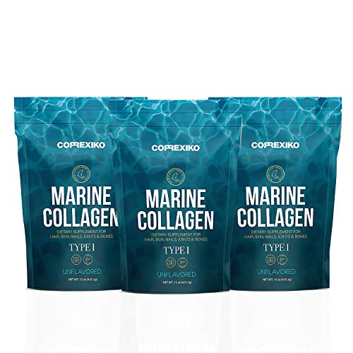 CORREXIKO Premium Marine Collagen Peptides - Wild Caught Fish from Canada (Not Farmed), Protein Powder for Skin, Hair, Nails, Joints & Bones & Digestive Health - Hydrolyzed (Unflavoured) 15oz x 3 pack