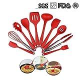 Sunblue 10pcs Cocina Herramientas Set, Premium Silicona Antiadherente Resistente al Calor no Tóxico Juego de Utensilios de Cocina (Rojo)