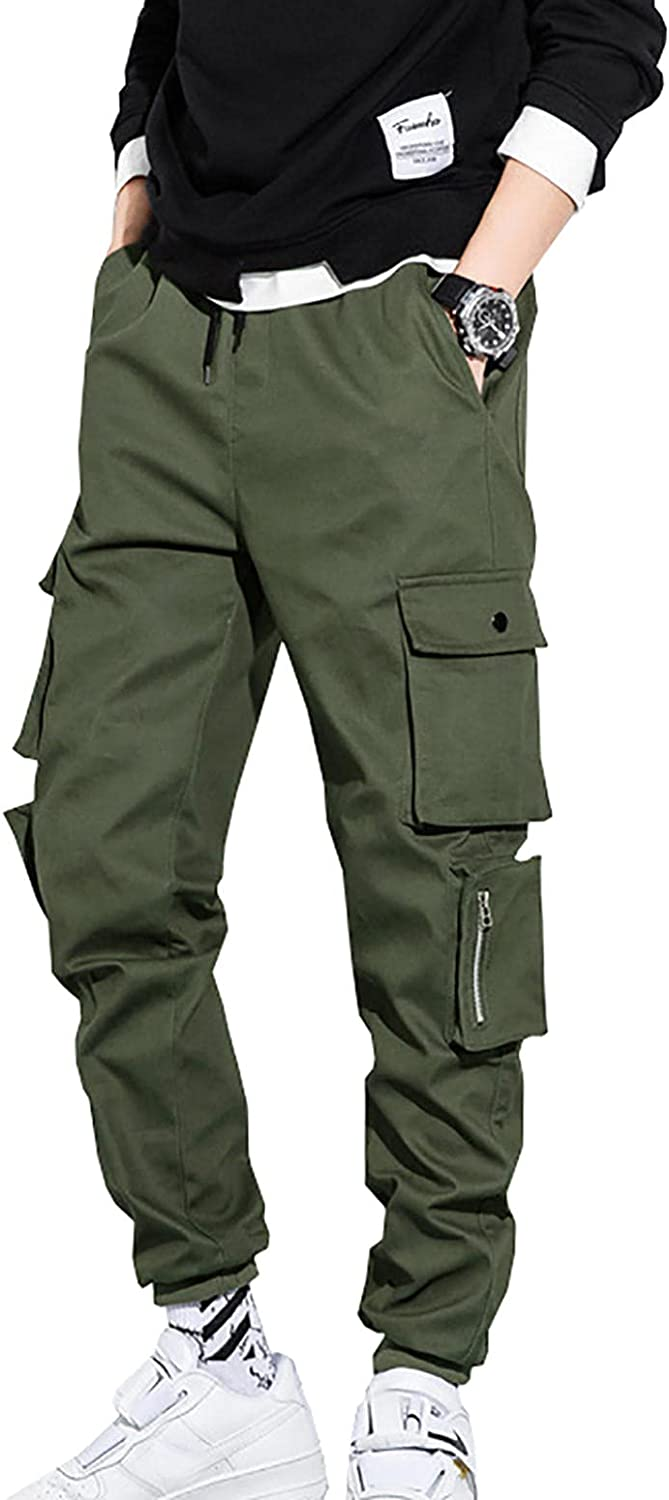 Woluhuan Men's Multi-Pockets Military Style Casual Cargo Pants F