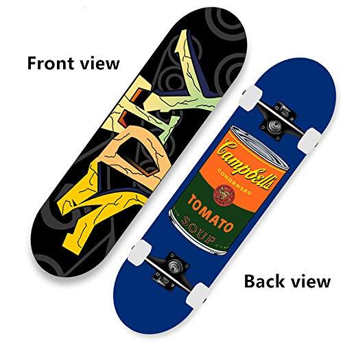 BLH Anfänger Skateboard Cruiser 31 x 8 Zoll, 7-lagiges Double Kick Concave Skateboard aus kanadischem Ahorn, geeignet für Jungen, Mädchen und Erwachsene Standard Skateboards,Place