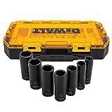 Dewalt DWMT74736 Tough Box - Juego de llaves de vaso de impacto SAE (1/2 pulgadas, 7 piezas)