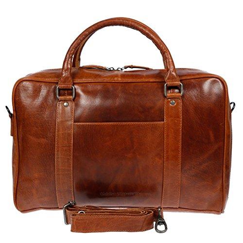 Christian Wippermann große Aktentasche Laptoptasche 15.6 Zoll aus echtem Leder mit TÜV geprüftem RFID Schutz (Cognac)