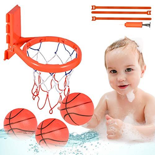aovowog Badespielzeug Baby Badewannenspielzeug Bad Angelspiel mit Schwimmenden Fische und Mini Basketballkorb, Wasserspielzeug für Baby Kinder Kleinkinder Badewannen Dusche Pool(8 Stück)