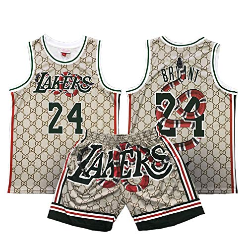 QPY Kobe Bryant L.A. Lakers #24 Basketball Trikots für Black Mamba Spirit, M&n Classic Basketball Trikots Bedruckte Version Lila Jersey (S-XXL) Gr. XL, Anzug
