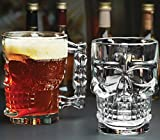 Classic Glass Beer Draft Mug glasses, HALLOWEEN SKULL, Set of 4, Glassware Solid Handled Clear Drinking Mugs,