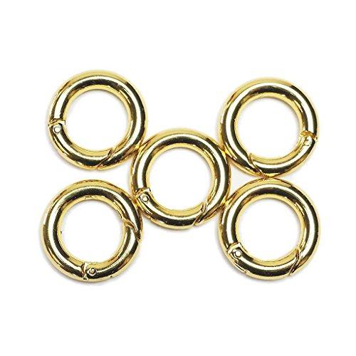 丸型カラビナ/サークルカラビナ 最小サイズ 5個セット 外径18mm 丸フック/リングフック キーホルダー (ゴールド)