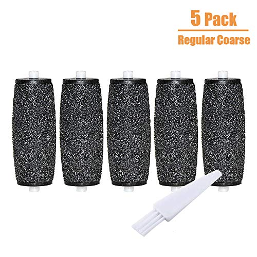 5 Pack Regular Coarse Replacement Refill Rollers for Amope Pedi Refills Electronic Perfect Foot File Pedi Hard Skin Remover Refills with a clean brush