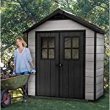 AETN Future Keter Oakland 7ft 5 Inch x 4ft (2.1 x 1.2m) Shed Shelving A Waterproof Outdoor Lockable Garden Storage With Plastic Wooden Design And Flooring Perfect Shed For Small Spaces