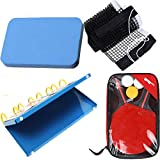 GYDJ Professional Ping Pong Paddle Set with Retractable Net and 4-Digit Scoreboard, Rubber Cleaner Sponge Table Tennis Accessories,Indoor or Outdoor Play Recreational Games