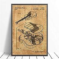 """キャンバス上の絵画アコースティックギターヴィンテージウォールアートポスターとプリントアートワークの写真寝室のリビングルームの家の装飾23.6"""" x31.4""""(60x80cm)フレームレス"""