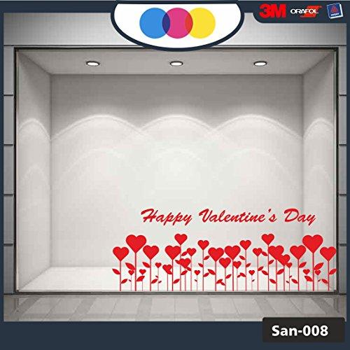 mural stickers Ventanilla San Valentín – Corazones Adhesivos – Dimensiones 90 x 60 cm – Rojo – Vitrina para Tiendas – Love, San Valentín, Pegatinas, Adhesivos