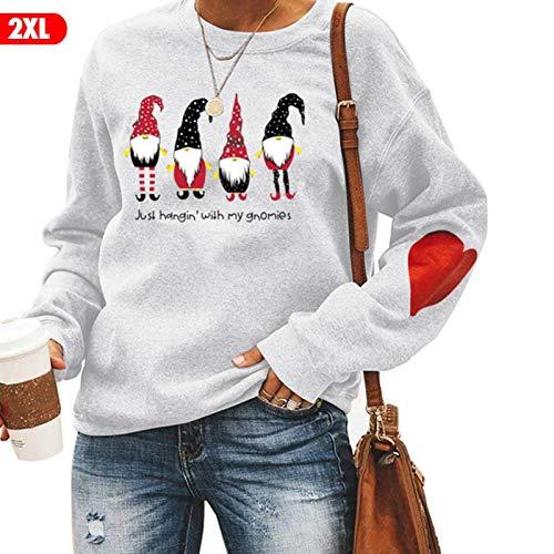 Ishine De Gran Tamaño Camisetas para Mujeres De Navidad Sudadera De Manga Larga Cómodo Tops Suéter Lindo Top Letra Impresión Sudadera